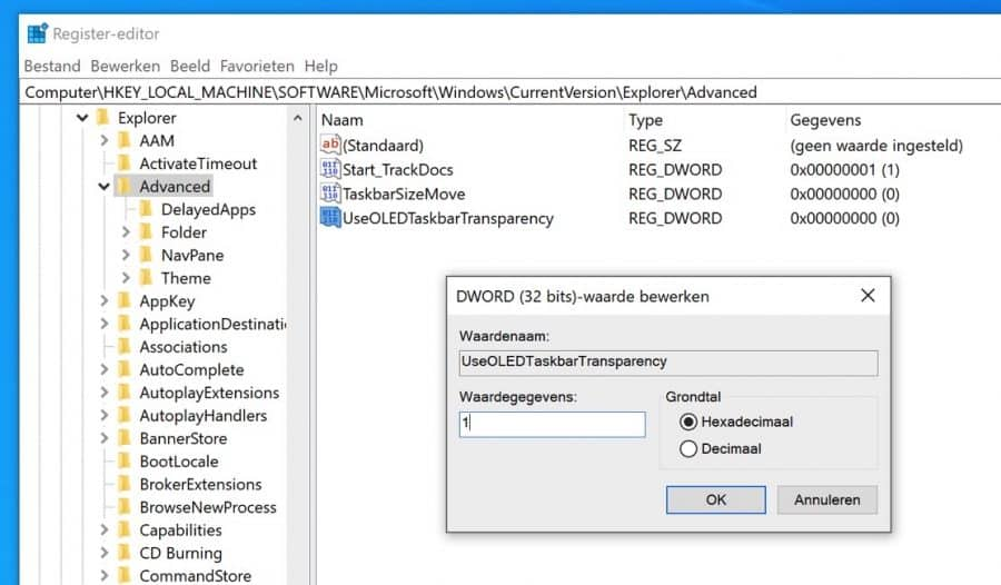 UseOLEDTaskbarTransparency waarde register