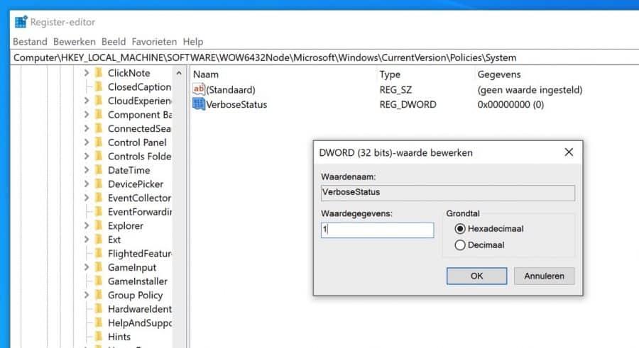 VerboseStatus aanzetten windows