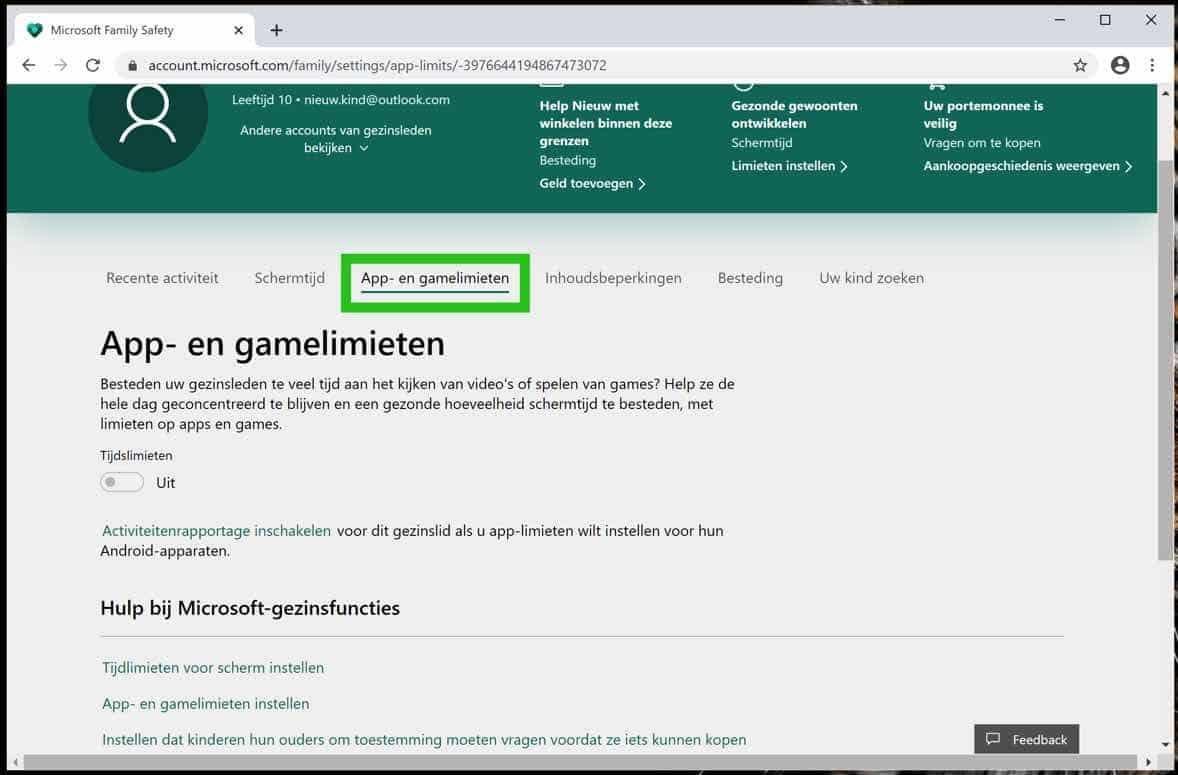 app- en gamelimieten instellingen kind account