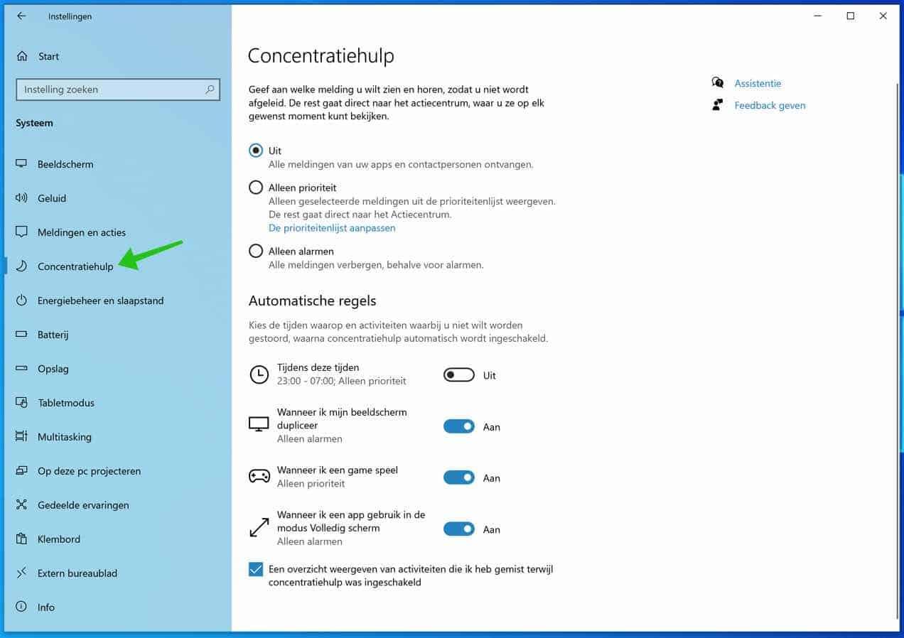 concentratiehulp instellingen windows 10