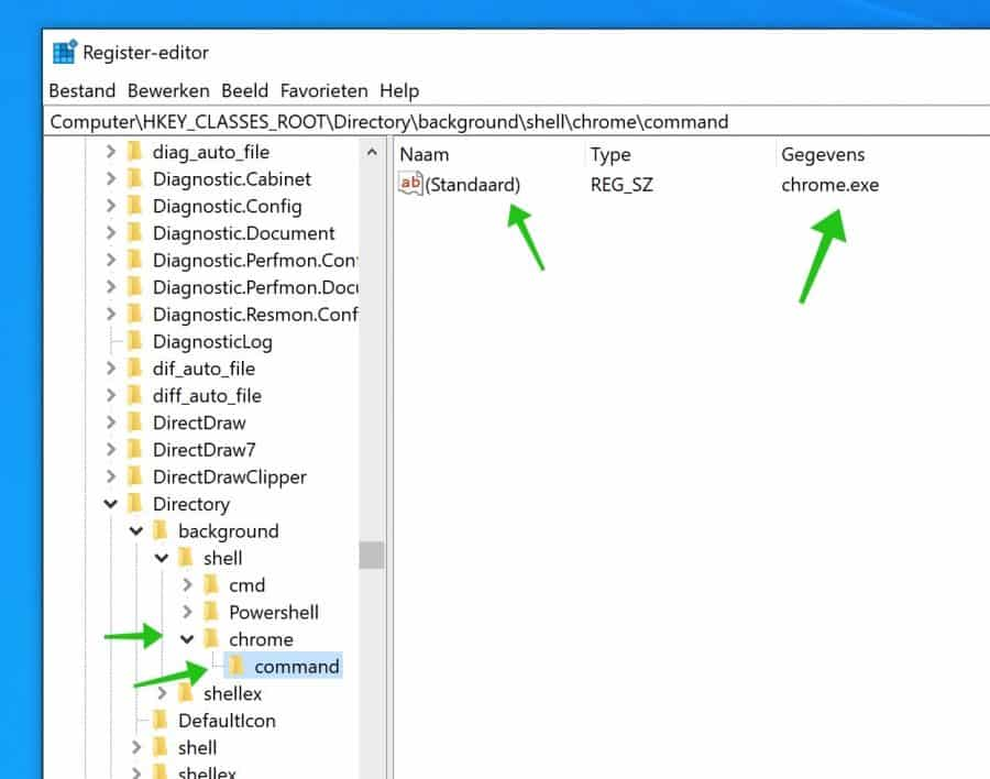 context menu aanpassen register