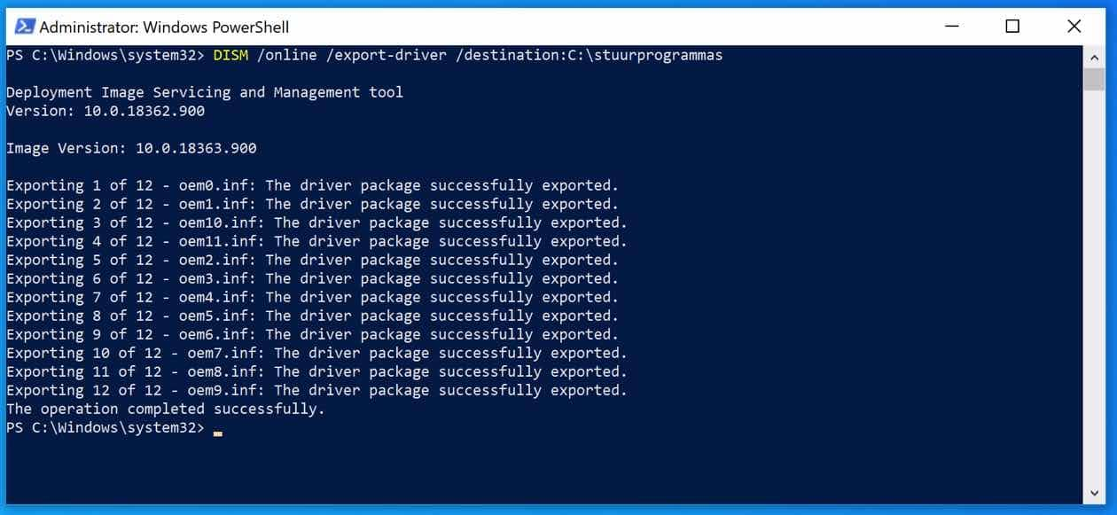 dism backup maken drivers windows 10