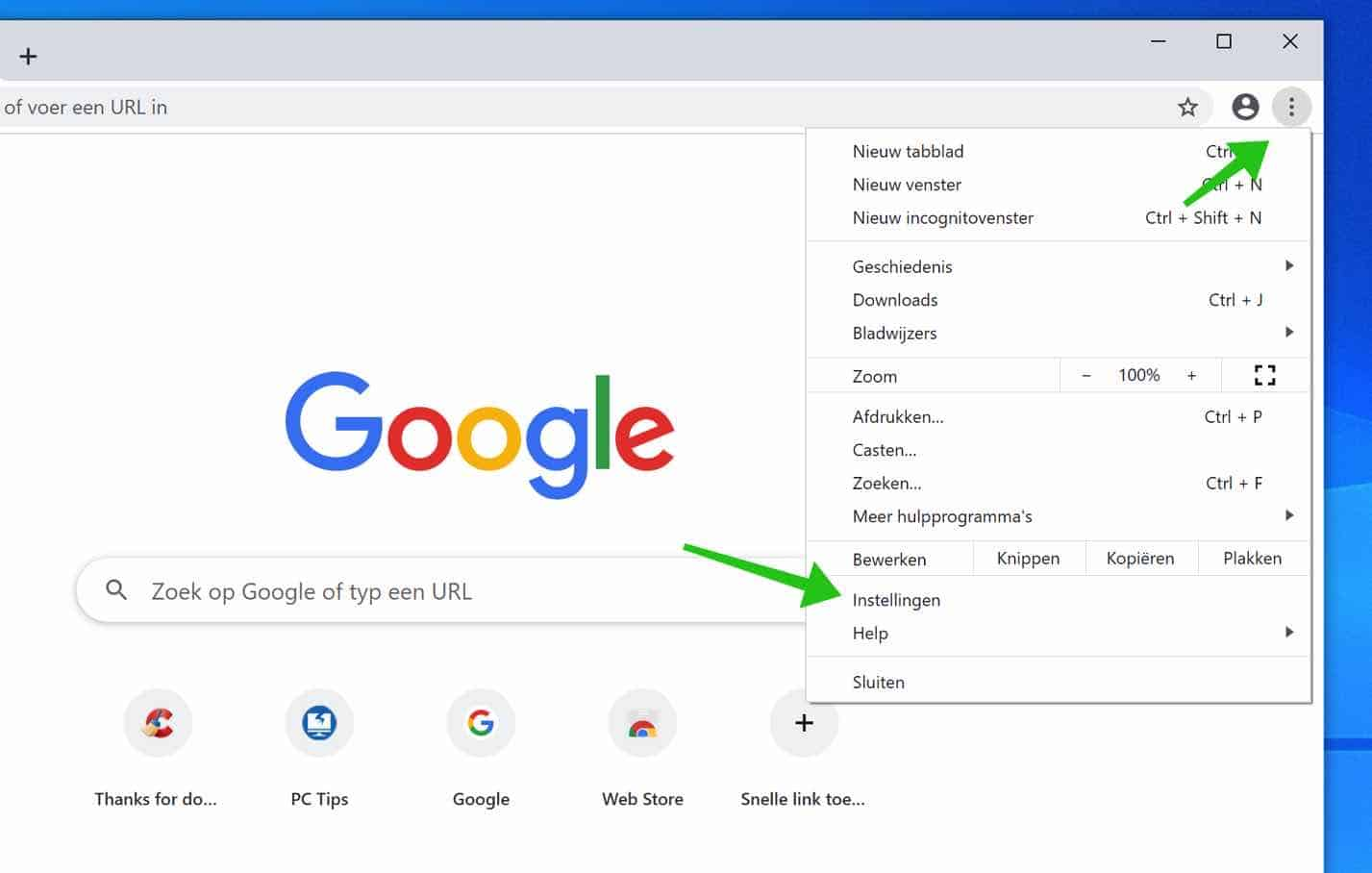 google chrome reset