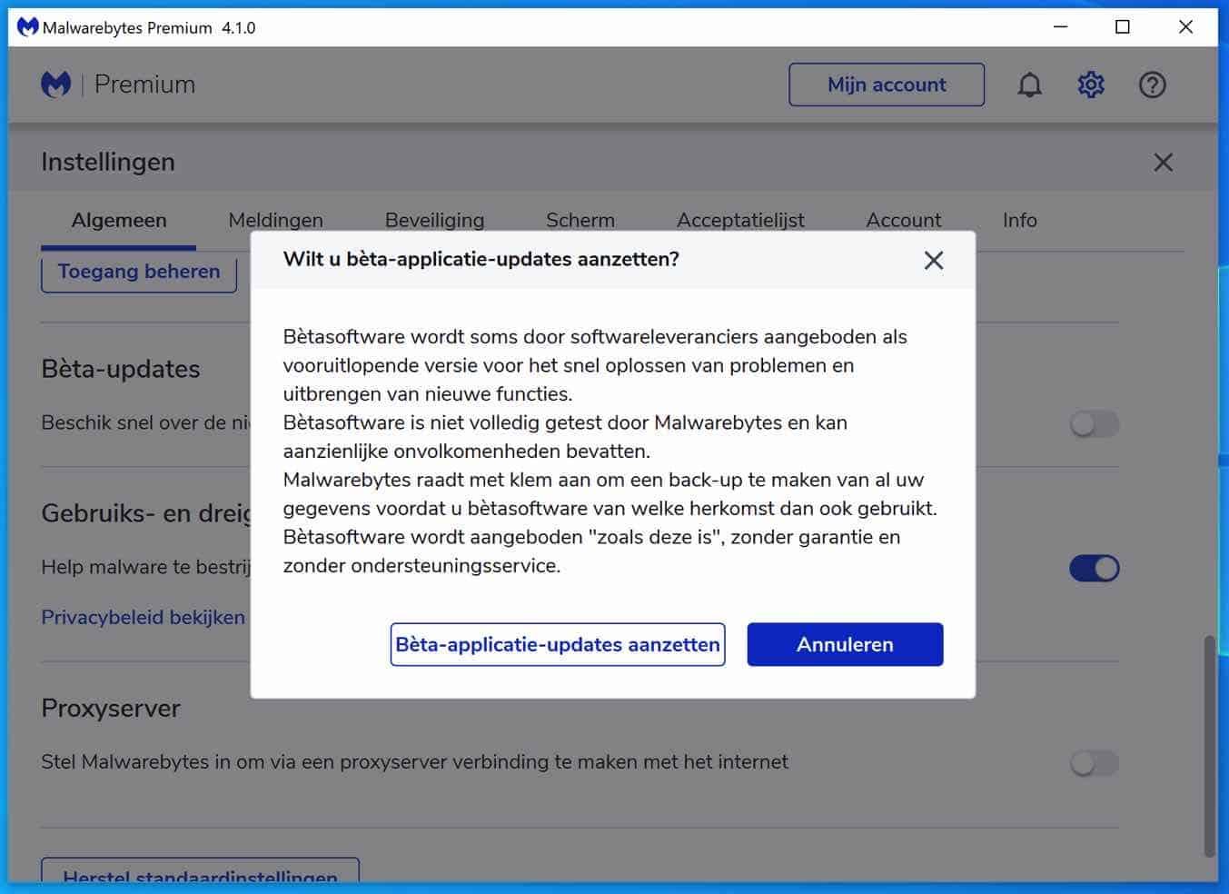 malwarebytes beta updates ontvangen