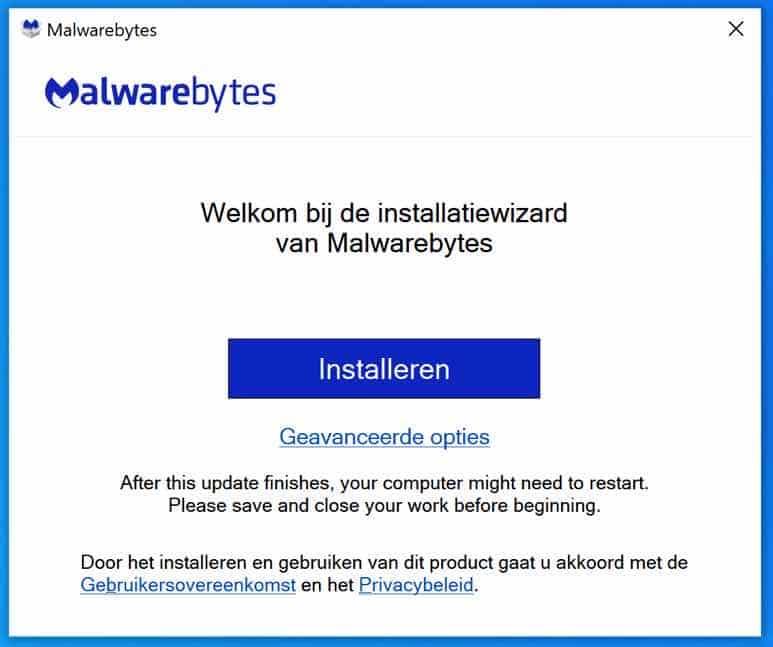 malwarebytes installeren