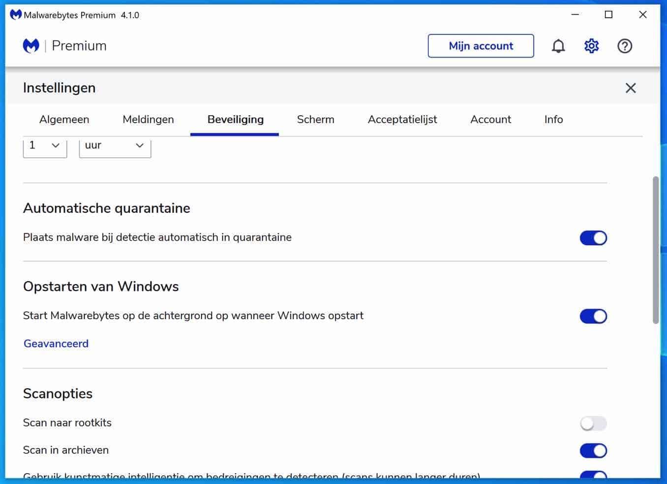 malwarebytes opstarten van windows