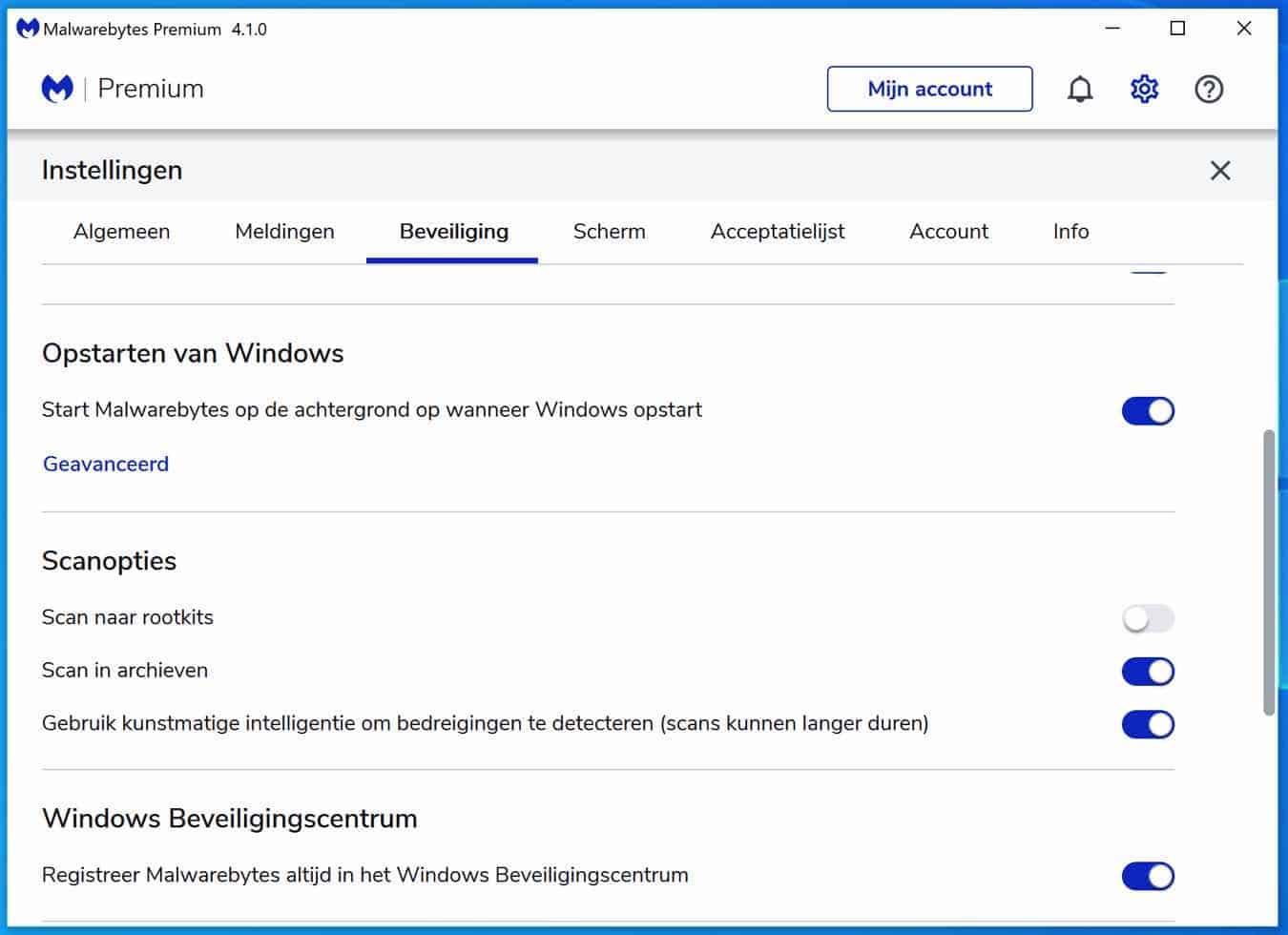 malwarebytes scannen naar rootkits