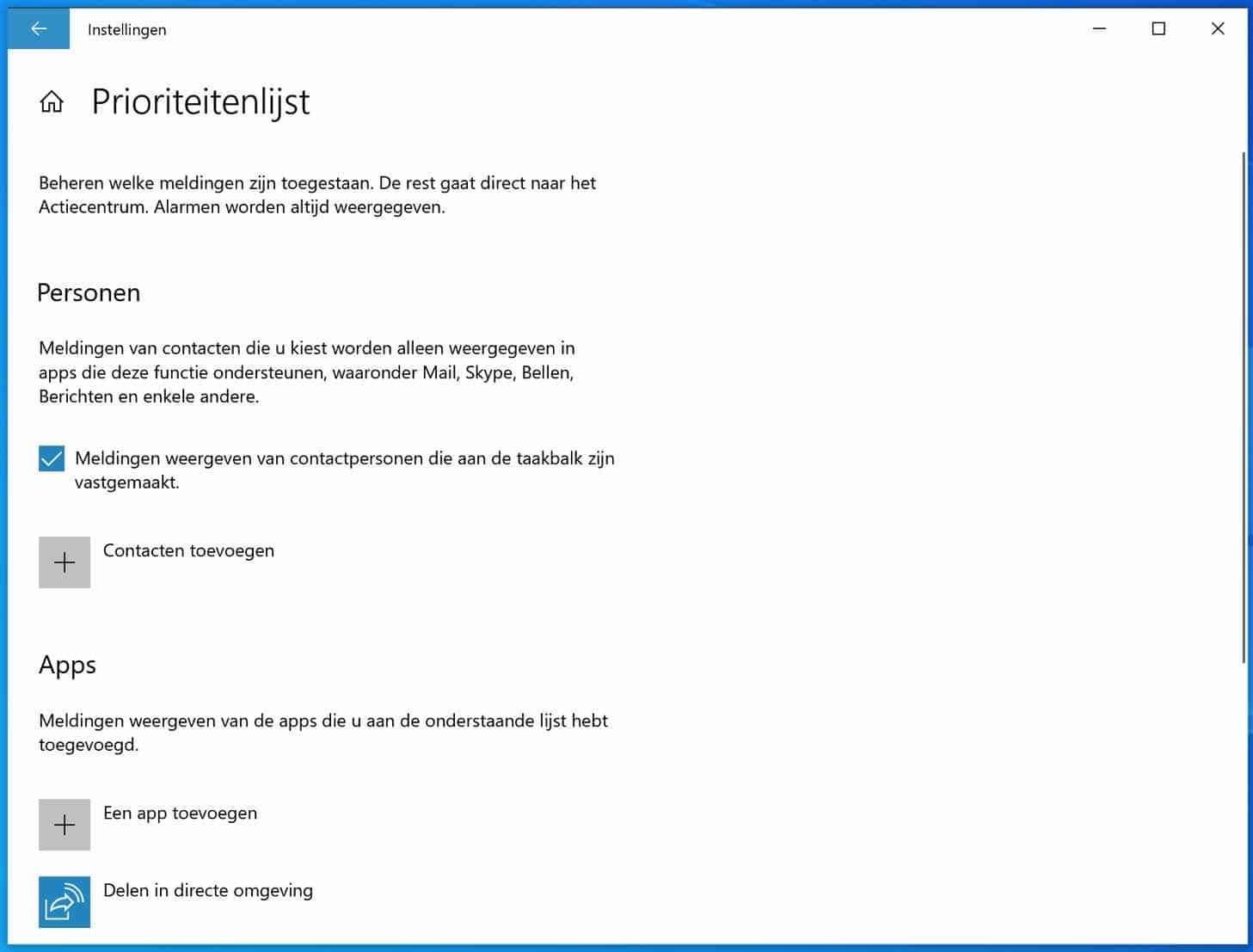 prioriteitenlijst instellen windows 10