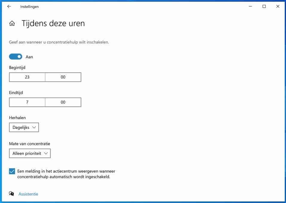 tijden aanpassen concentratie hulp windows 10