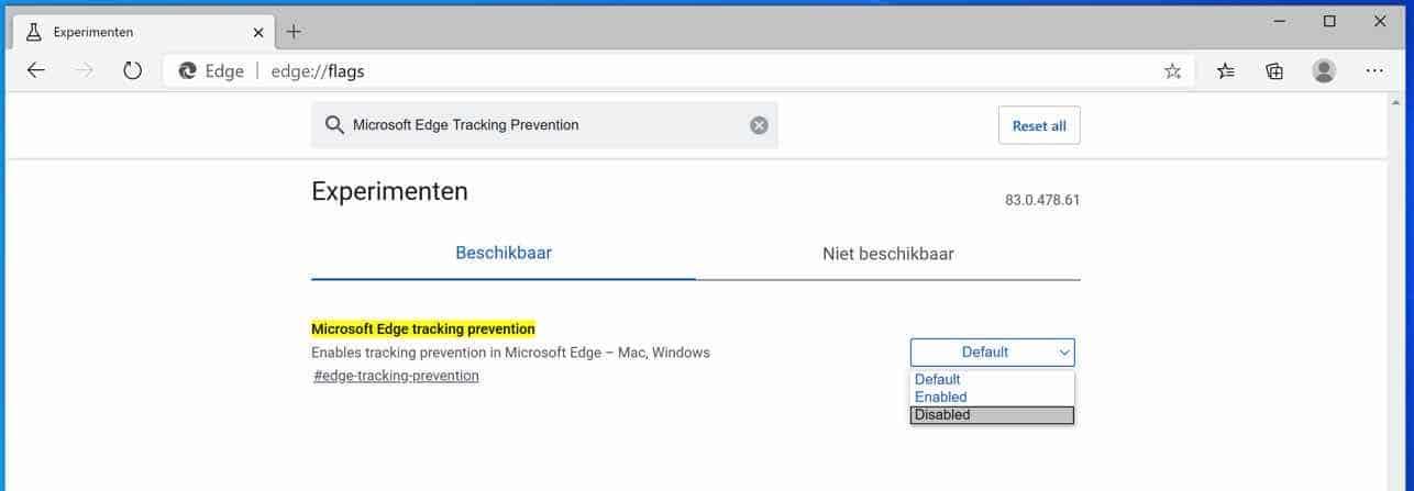 Microsoft Edge Tracking Prevention