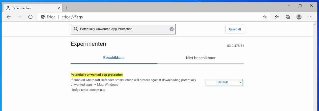 Potentially Unwanted App bescherming in Edge