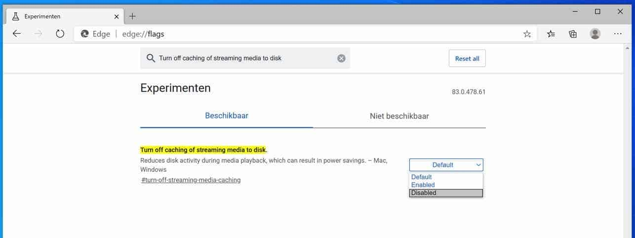 Turn off caching of streaming media to disk