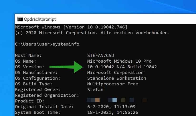 Welke windows versie via systeeminfo