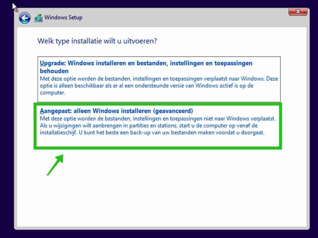 alleen Windows installeren