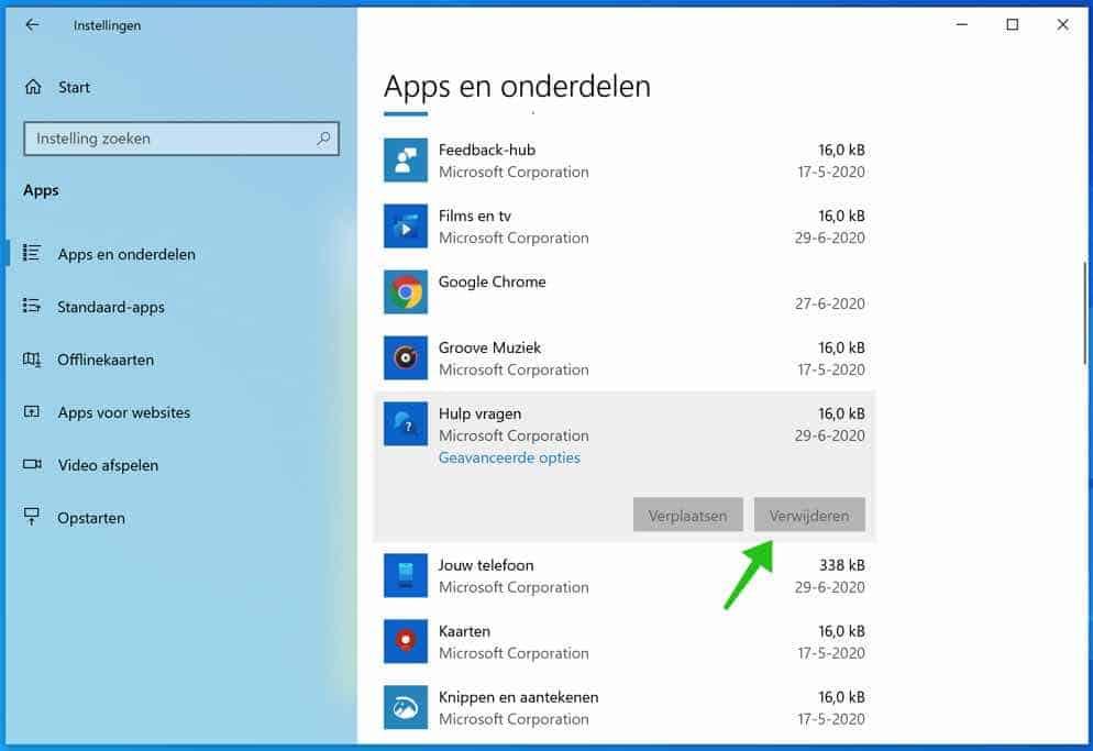 apps en onderdelen windows 10