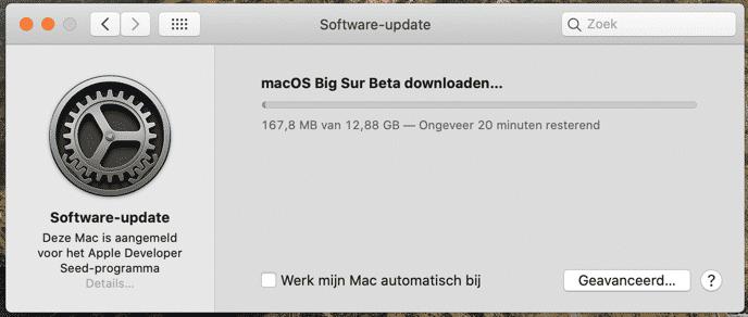 bigsur installeren op mac
