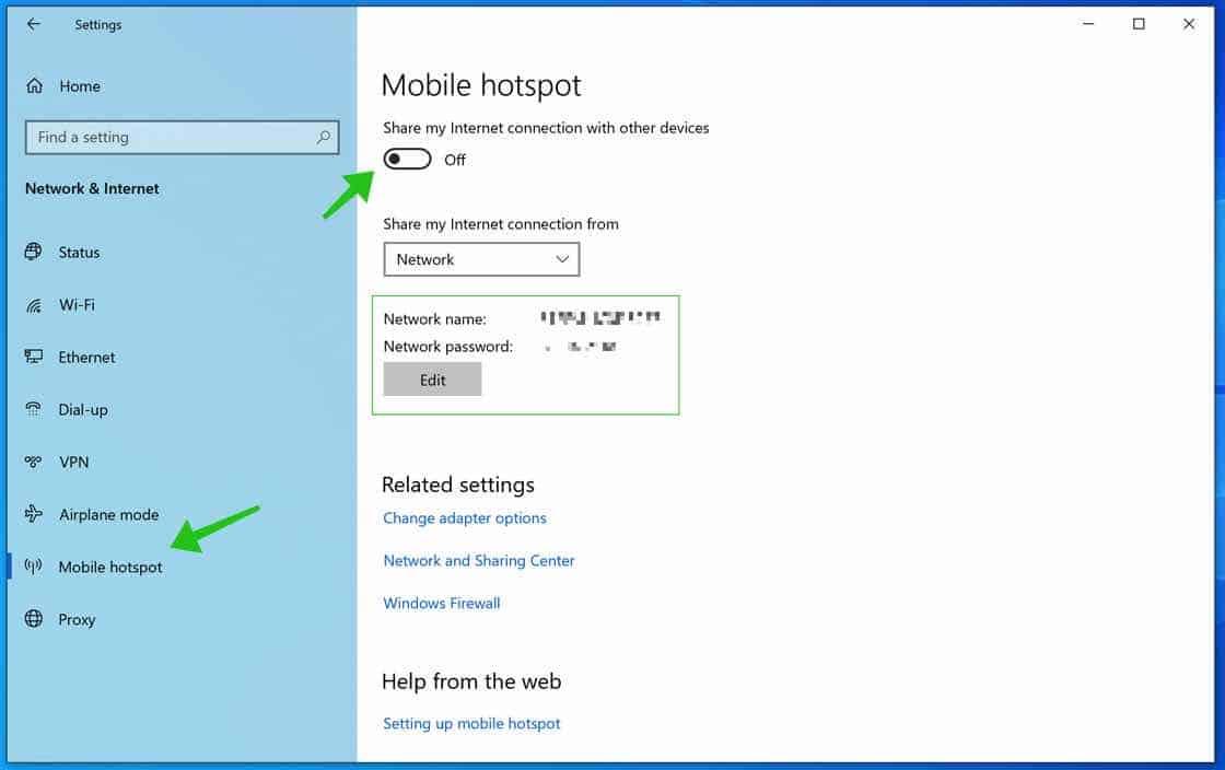 create mobile hotspot windows 10