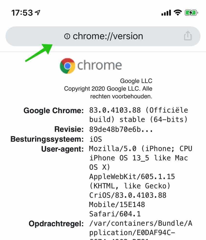 google chrome versie iphone of ipad