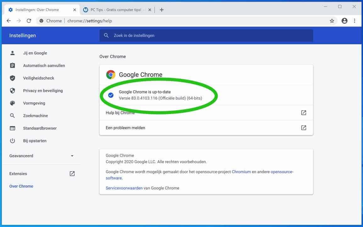 google chrome versie