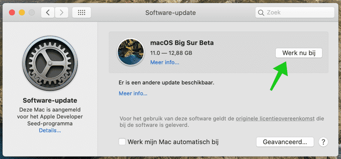 macos bigsur update installeren