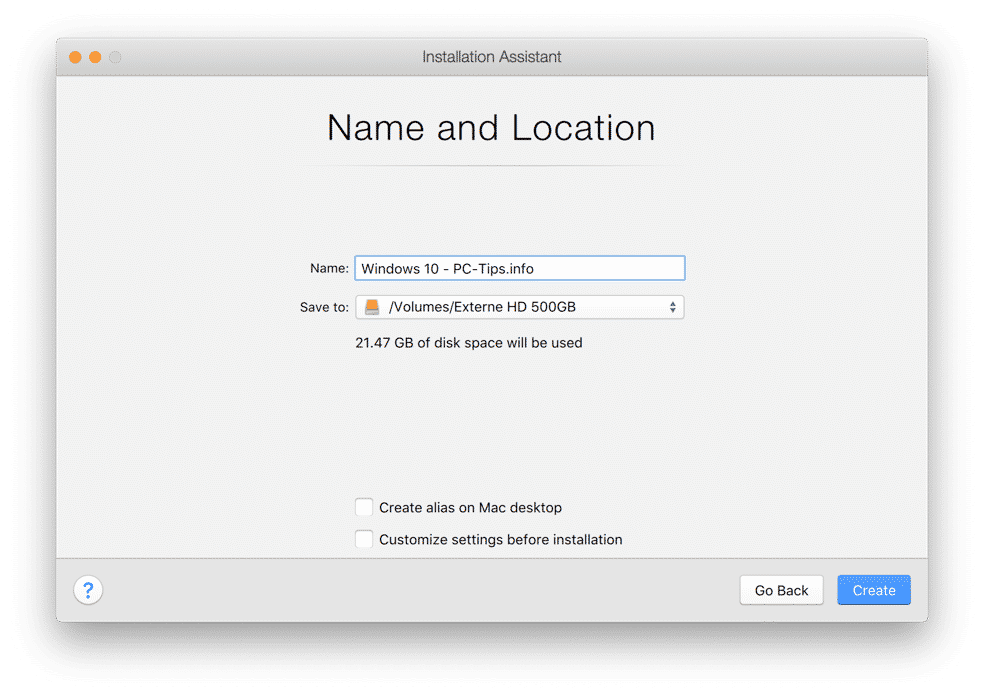name and location file parallels desktop