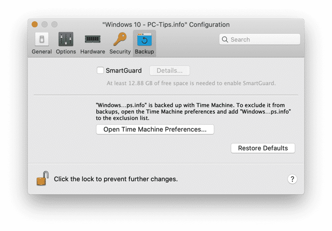 parallels desktop backup settings