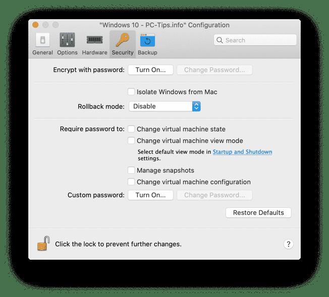parallels desktop beveiligings instellingen aanpassen