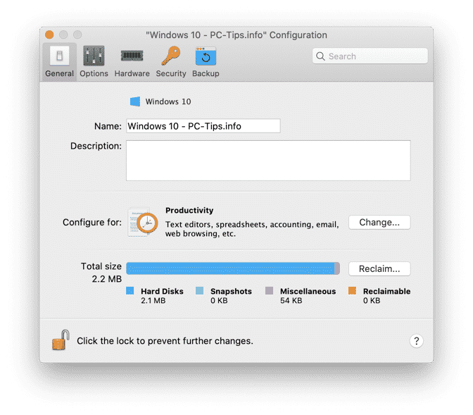 parallels desktop edit configuration