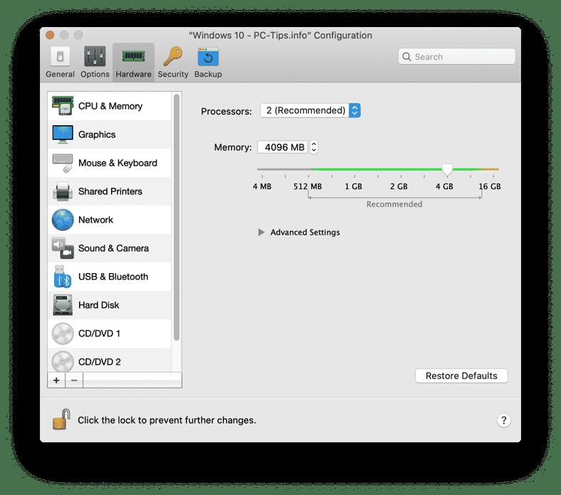 parallels desktop hardware configuration