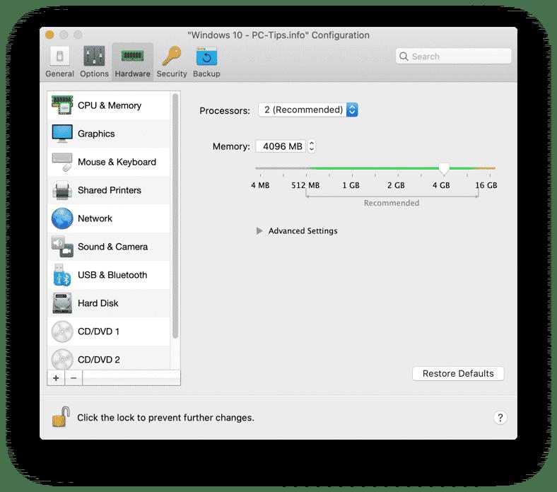 parallels desktop hardware instellingen aanpassen