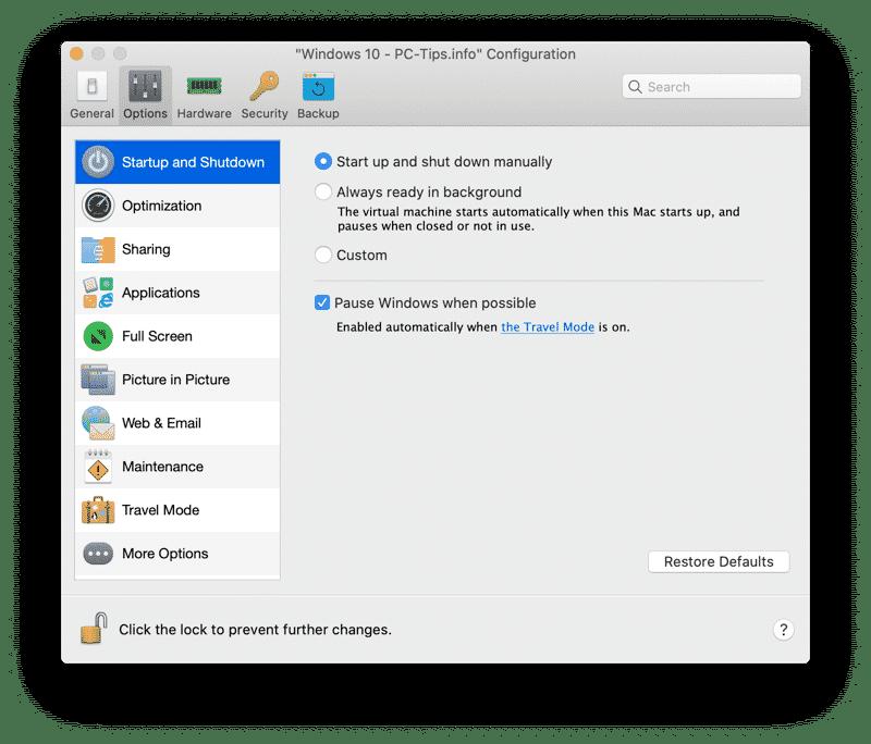 parallels desktop opties aanpassen virtuele machine