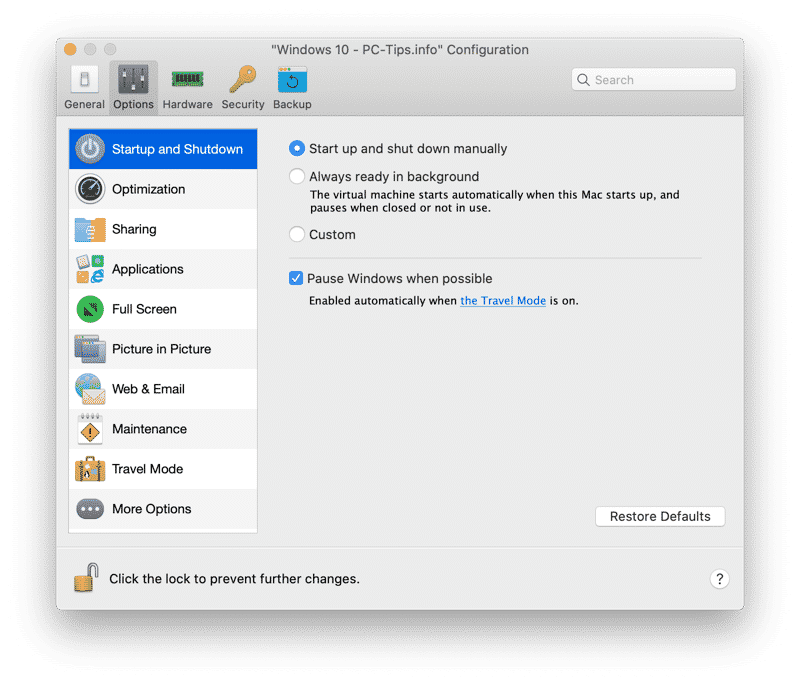 parallels desktop options
