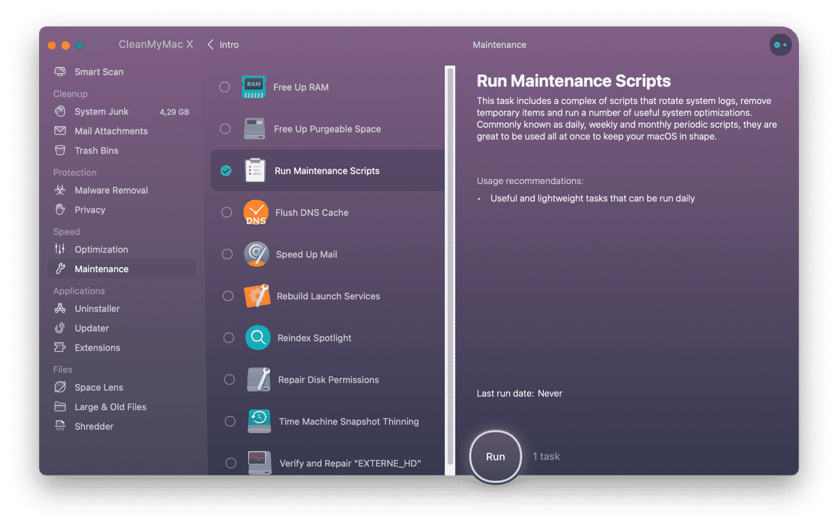 run mac maintenance scripts to optimize mac performance