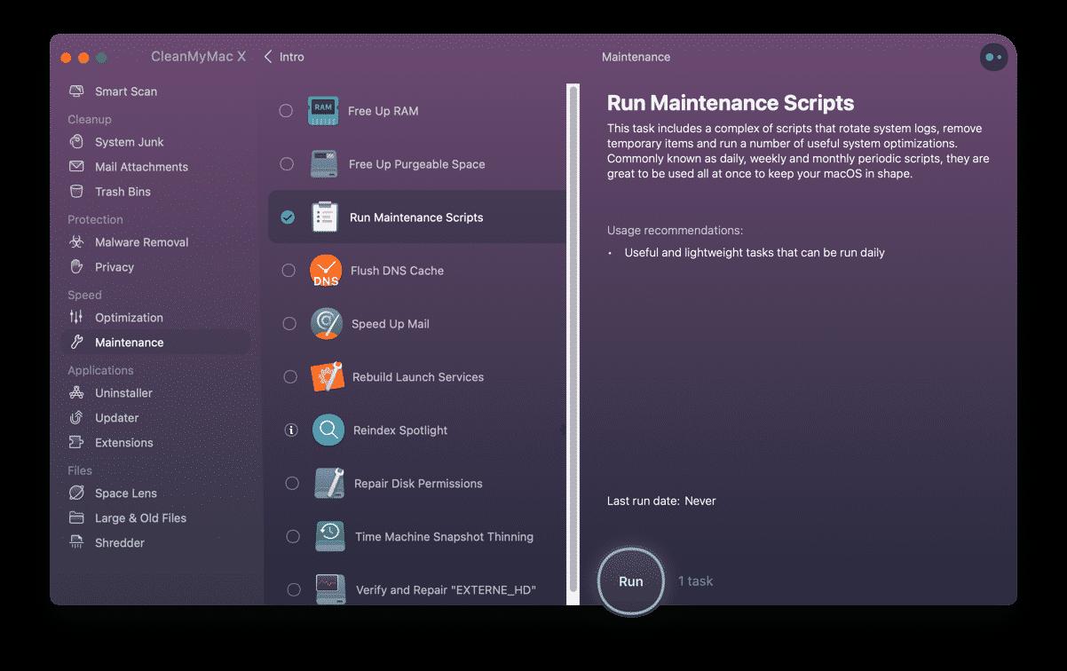 run maintenance tasks to make mac faster