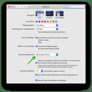 standaard browser wijzigen mac