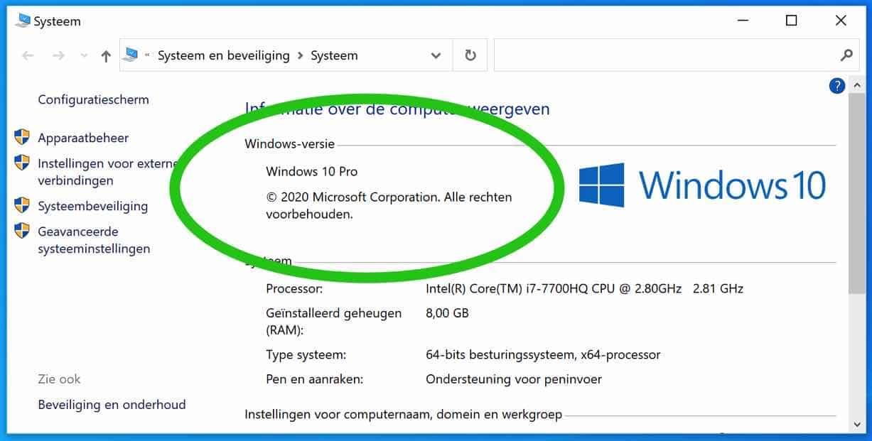 versie informatie windows 10