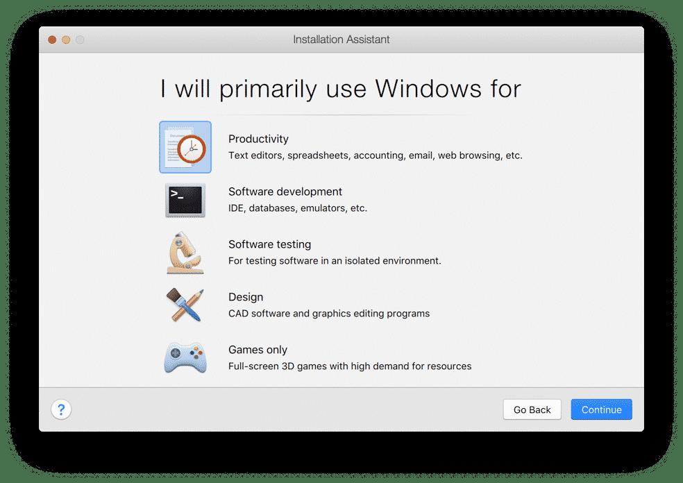 waar gaat u windows voor gebruiken parallels desktop