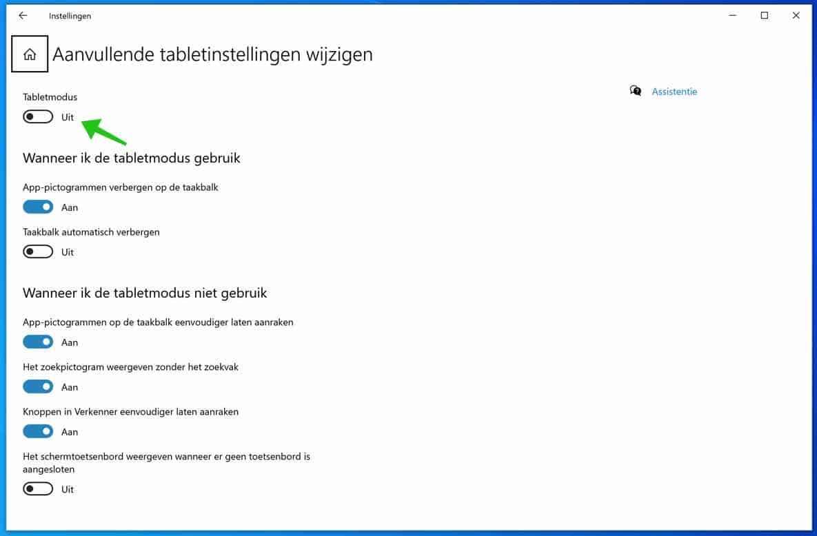 windows 10 aanvullende tablet instellingen wijzigen