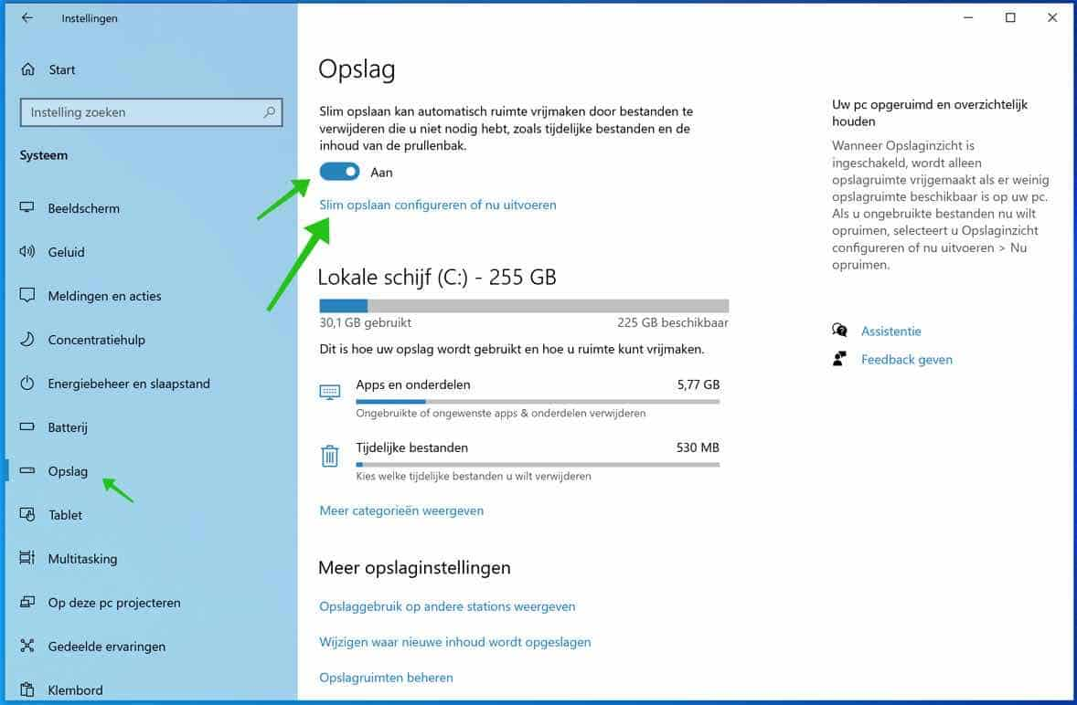 windows 10 opslag instellingen