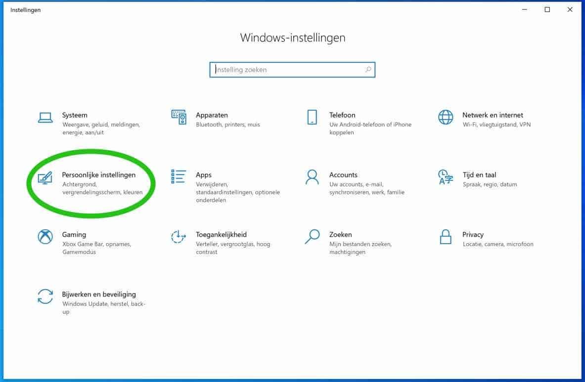 windows 10 persoonlijke instellingen
