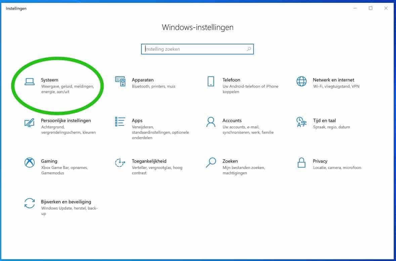 windows 10 systeem instellingen