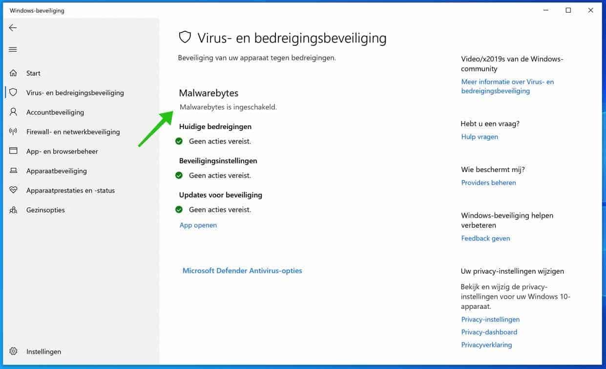 windows defender andere antivirus ingeschakeld