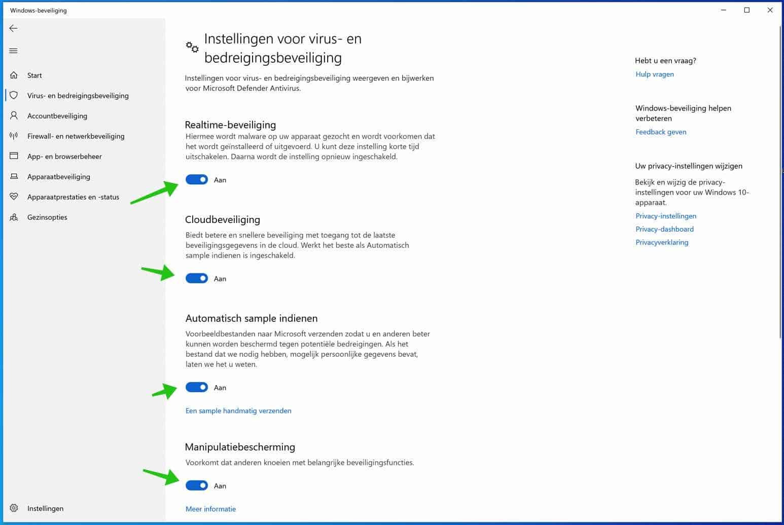 windows defender antivirus instellingen