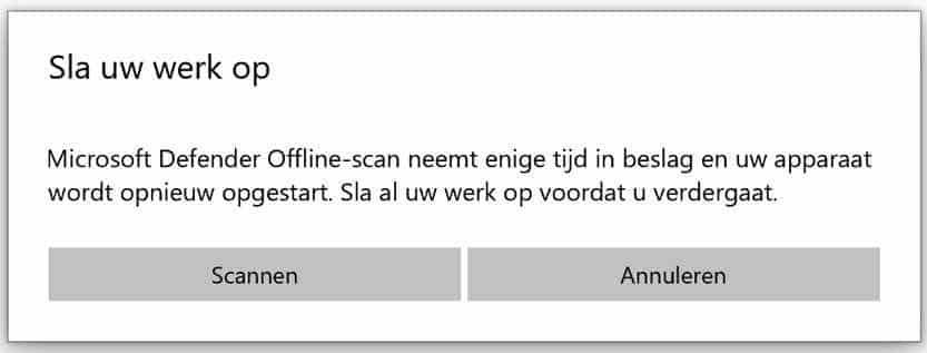 windows defender antivirus offline scan