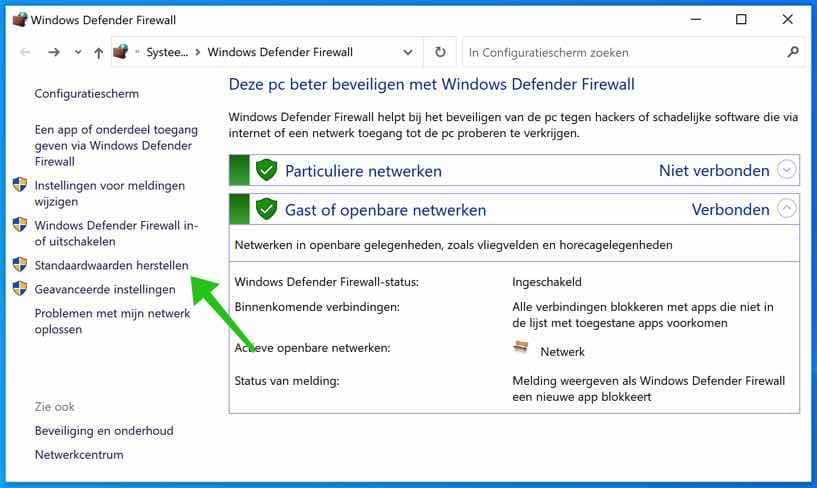 windows defender firewall standaardwaarden herstellen