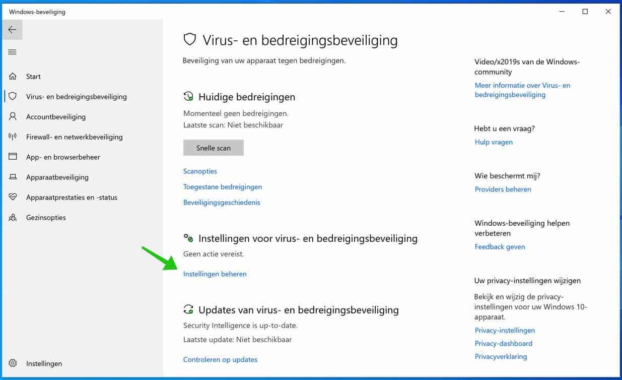 windows defender instellingen beheren
