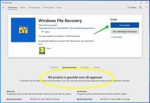windows file recovery installeren