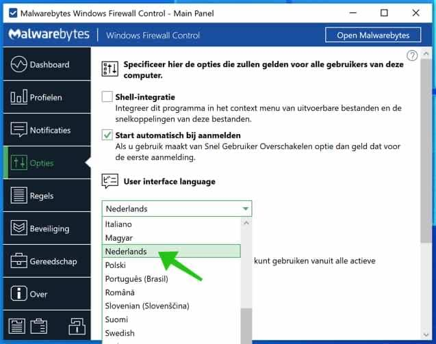 windows firewall control taal wijzigen