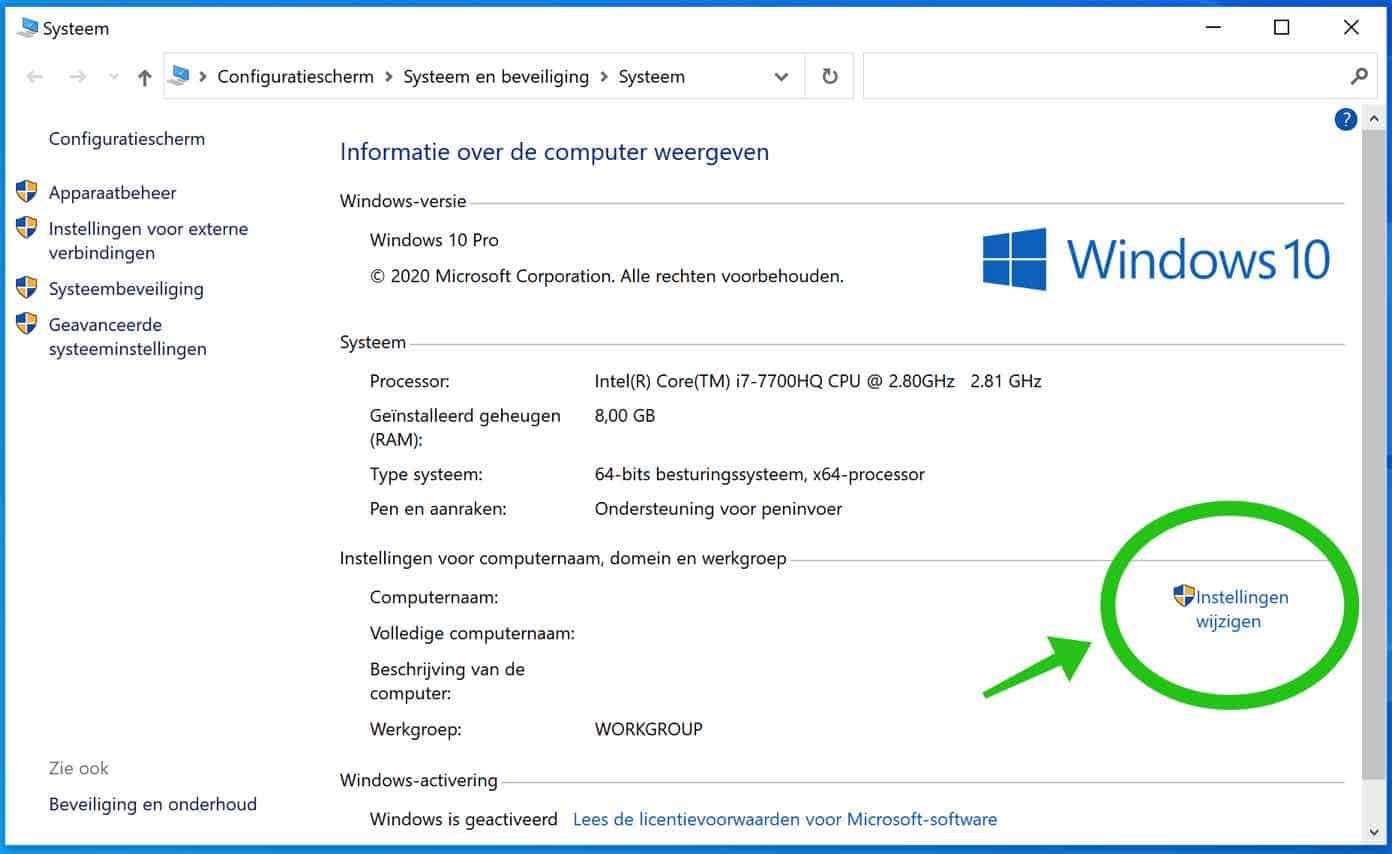domein instellingen windows 10