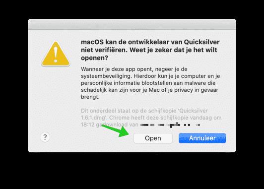 macos kan de ontwikkelaar niet verifieren